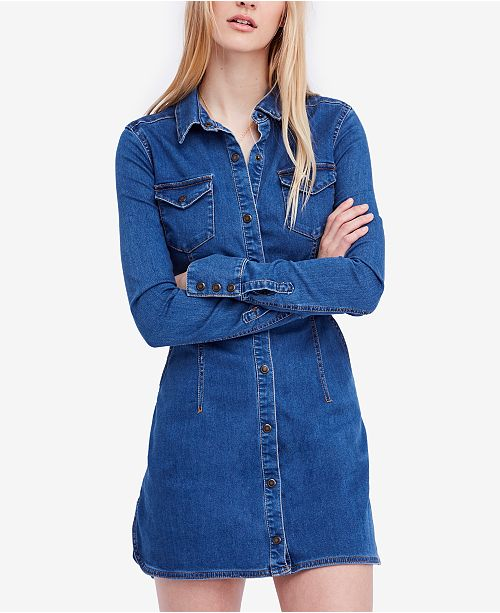 c45831b9ff Free People Dynomite In Denim Long-Sleeve Mini Dress   Reviews ...