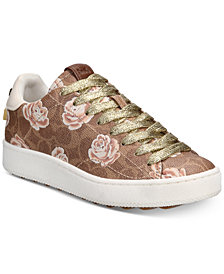 COACH C101 Signature Rose Fashion Sneakers