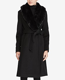 Faux Fur Shawl-Collar Belted Wrap Coat