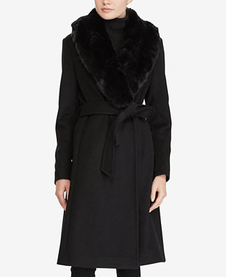 Faux Fur Shawl Collar Belted Wrap Coat by General
