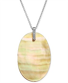 """Golden South Sea Mother-of-Pearl & Diamond Accent 18"""" Pendant Necklace in Sterling Silver"""