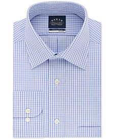 Eagle Men's Big & Tall Classic/Regular Fit Non-Iron Flex Collar Blue Check Dress Shirt
