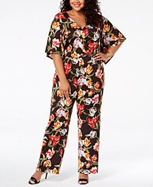 NY Collection Plus & Petite Plus Size Printed Wide-Leg Jumpsuit