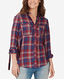 WILLIAM RAST Carina Plaid Belted-Cuff Shirt