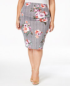 Soprano Trendy Plus Size Printed Pencil Skirt