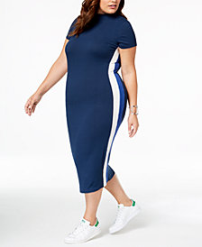 Soprano Trendy Plus Size Striped Bodycon Dress