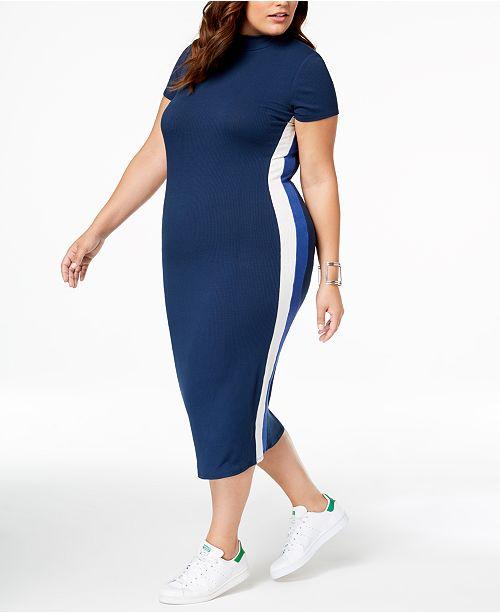 Soprano Trendy Plus Size Striped Bodycon Dress & Reviews ...