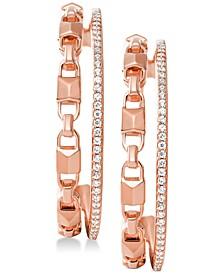 "Women's Mercer Link Double Row Sterling Silver 1-1/5"" Medium Hoop Earrings"