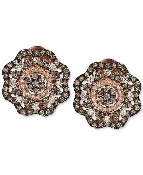 Le Vian Red Carpet® Diamond Flower Stud Earrings (1-5/8 ct. t.w.) in 14k Rose Gold