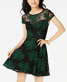 City Studios Juniors' Two-Tone Lace Dress