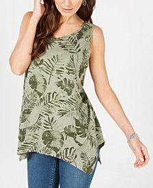 Style & Co Petite Printed Handkerchief-Hem Top, Created for Macy's
