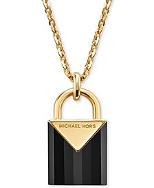 Women's Kors Color Semi-Precious Sterling Silver Padlock Necklace