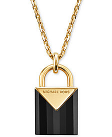Michael Kors Women's Kors Color Semi-Precious Sterling Silver Padlock Necklace