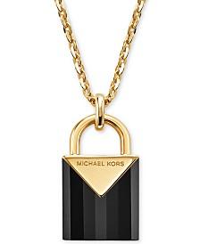 Michael Kors Women's Kors Color Semi-Precious Sterling Silver Padlock Necklace