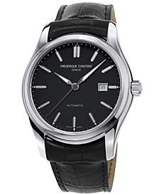 Men's Swiss Automatic Classics Index Black Leather Strap Watch 43mm