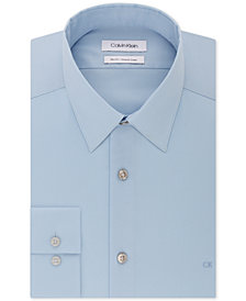 Calvin Klein Men's Slim-Fit Stretch Flex Collar Solid Logo Dress Shirt, Created for Macy's