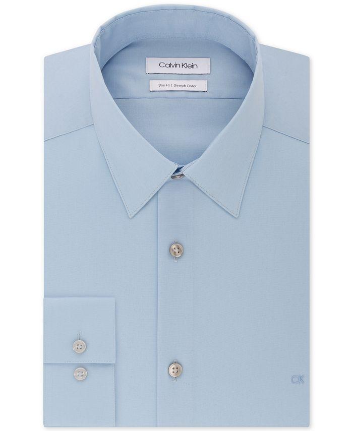 Calvin Klein - Men's Slim-Fit Stretch Flex Collar Solid Logo Dress Shirt