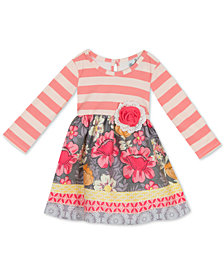 Rare Editions Baby Girls Striped Floral Dress