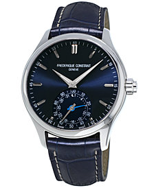 Frederique Constant Men's Swiss Horological Blue Leather Strap Smart Watch 42mm