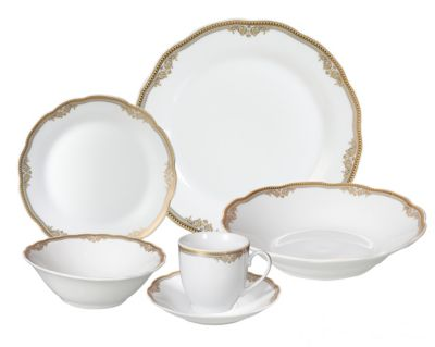 Lorren Home Trends Catherine 24-Pc. Dinnerware Set, Service for 4