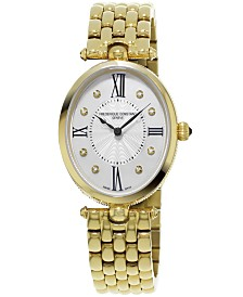Frederique Constant Women's Swiss Art Deco Diamond-Accent Gold-Tone Stainless Steel Bracelet Watch 34x28mm