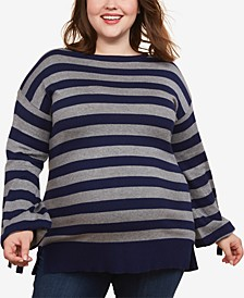 Plus Size Tie-Sleeve Sweater