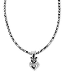 "King Baby Women's Crown & Heart 18"" Pendant Necklace in Sterling Silver"