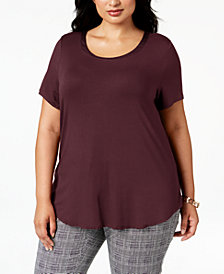 Alfani Plus Size Satin-Trimmed T-Shirt, Created for Macy's