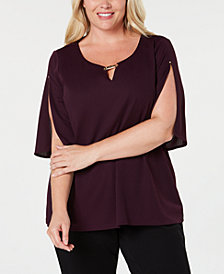 Calvin Klein Plus Size Split-Sleeve Top