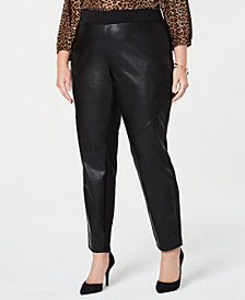 MICHAEL Michael Kors Plus Size Faux Leather Ponte Leggings