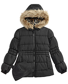 Weathertamer Big Girls  Puffer Coat with Faux Fur Trimmed Hood