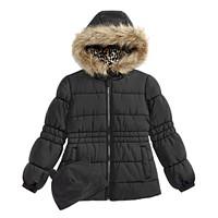 Deals on Weathertamer Big Girls Puffer Coat with Faux Fur Trimmed Hood