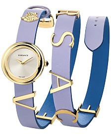 Versace Women's Swiss V-Flare Lavender & Blue Leather Wrap Strap Watch 28mm