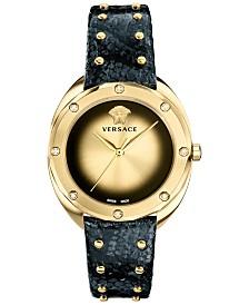 Versace Women's Swiss Shadov Diamond (1/3 ct. t.w.) Black Elaphe Leather Strap Watch 38mm