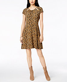 MICHAEL Michael Kors Printed Cutout A-Line Dress