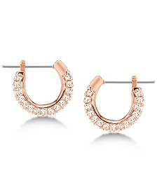"Swarovski Silver-Tone Pavé 1/4"" Hoop Earrings"
