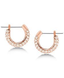 "Swarovski Silver-Tone Pavé 1/4"" Hoop Extra Small Earrings"