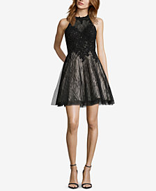 XSCAPE Embellished Lace Fit & Flare Dress