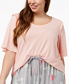 HUE® Plus Size Bell Ruffled-Sleeve Sleep Top