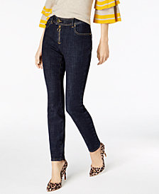 I.N.C. Curvy Exposed-Zipper Super Stretch Skinny Jeans, Created for Macy's