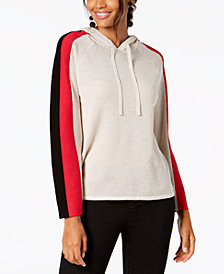 I.N.C. Perforated Colorblocked-Sleeve Hoodie, Created for Macy's