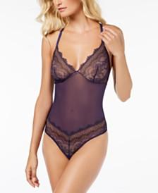 b.tempt'd Wink Worthy Mesh Lace-Trim Bodysuit 936221