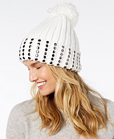 DKNY Studded Ribbed-Knit Cuff Beanie, Created for Macy's