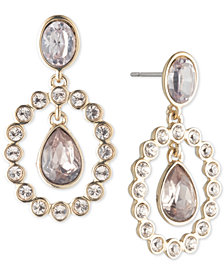 Givenchy Gold-Tone Crystal & Stone Orbital Drop Earrings