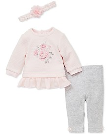 Little Me Baby Girls 3-Pc. Floral Sweatshirt, Leggings & Headband Set