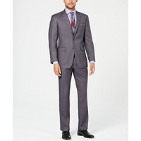 Perry Ellis Mens Slim-Fit Comfort Stretch Gray Sharkskin Suit Deals