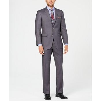 Perry Ellis Men's Slim-Fit Comfort Stretch Sharkskin Suit
