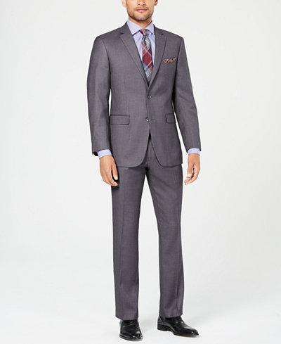 Perry Ellis Men's Slim-Fit Comfort Stretch Gray Sharkskin Suit