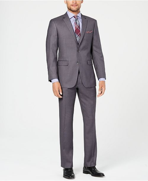 Perry Ellis Men's Slim-Fit Comfort Stretch Gray Sharkskin Suit