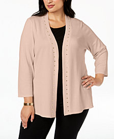 JM Collection Plus Size Stud-Bordered Open-Front Cardigan, Created for Macy's